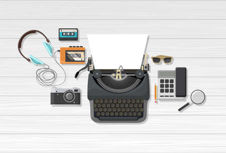 magnyfying glass: Flat Vector illustration, top view of objects with retro typewriter.