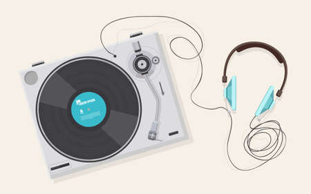 Flat illustration, Top view of retro vinyl player, turntable with headphone,