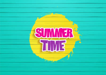 painted wood: Summertime Design. Painted wood background, with graffiti style, readable summertime. text. Illustration