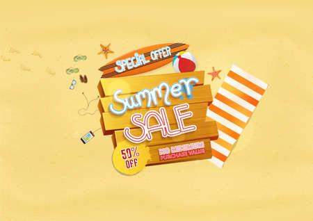 Summer sale with beach background design elements. Vector illustration Иллюстрация