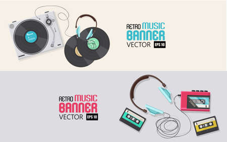 casette: Flat illustration, banner designs Top view of retro vinyl player and casette player with headphone, Illustration