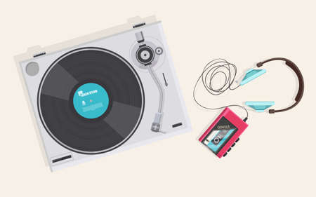 casette: Flat illustration, Top view of retro vinyl player, turntable and casette player with headphone,