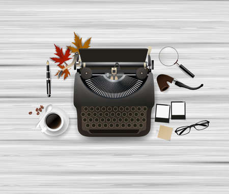 magnyfying glass: Typewriter and other objects. Vector illustration.