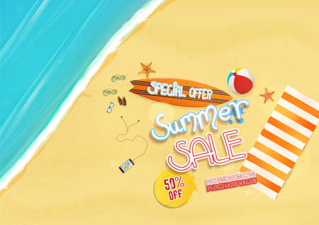 Summer sale background design with text objects and beach,