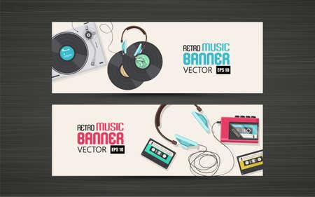 Illustration plat de rétro bannière de la musique. Vector Design,