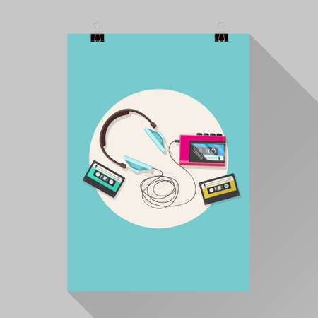 tape player: Flyer design, Cassette tape player and headphone
