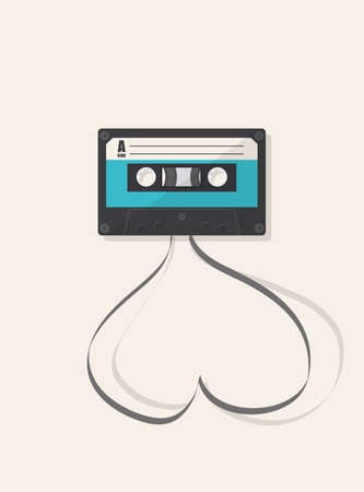 illsutration: Vector of illsutration: Retro audio cassette with tape in the shape of heart.