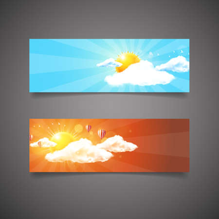 Two different header or web banner design. Sunset and sunrise with blue sky and clouds, Detailed vector illustration.