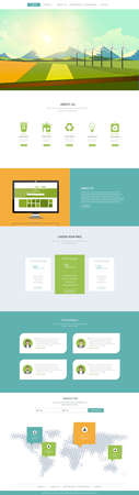 One Page Website Template Vector, with landscape vector illustration. Creative design. Vektoros illusztráció