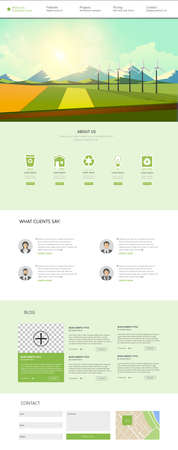 One Page Website Template Vector, with landscape vector illustration. Creative design.