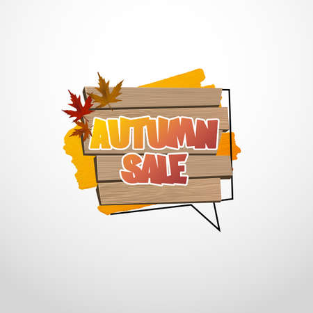 Autumn sale label, banner. Vector watercolor banner with ink splashes. Autumn poster. Vector illustration. Special offer. Vectores