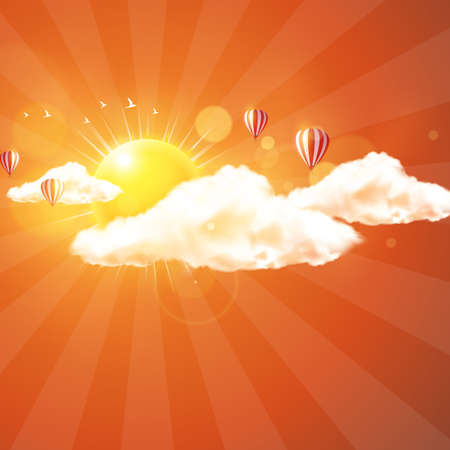 Beautiful vector design of sunset with clouds and hot air ballons.