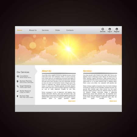 wordpress: Website Template Vector, vector illustration with sunset. Creative design. Illustration