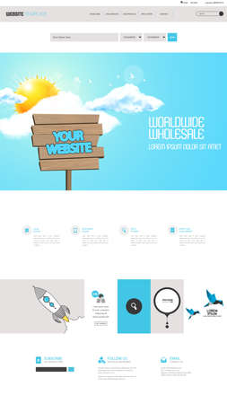 wooden plaque: Flat Colorful Website Template Design. Elements set of ui ux desin. Vector one page style with wooden plaque