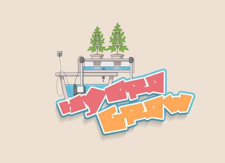 Medical Marijuana Hydroponics Grow Vector Concept in Flat Design.