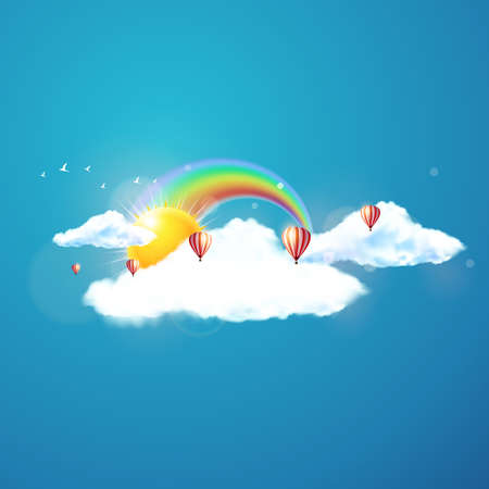 floats: Vector illustration of cool single weather icon - sun with cloud floats in the sky