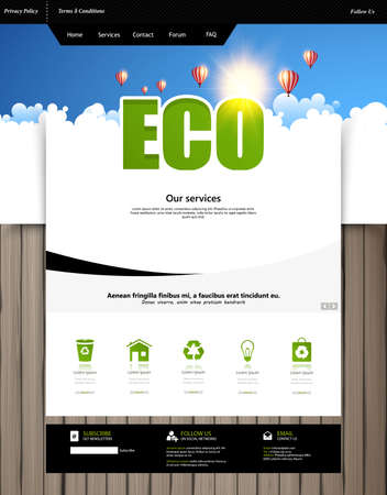 grungy header: Eco Green Website Template layouts. Vector design elements of your website, ui ux kit.