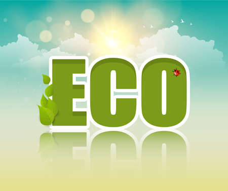 eco slogan: Creative lettering Eco friendly. Vector design, Can be Used  , slogan.