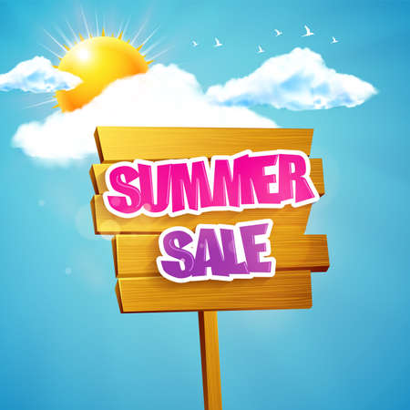 wooden plaque: Wooden Plaque with Summer Sale Lettering. Sunshine and sky.
