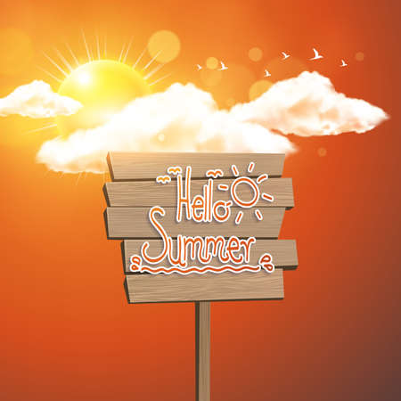 wooden plaque: Wooden Plaque with Hello Summer Lettering. Sunshine and sky. Background for summer design. Calligraphic design element.