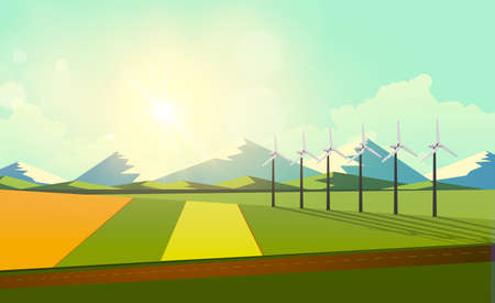 grasslands: Vector illustration of green countryside of sunny morning with wind turbines. Eco vector design.