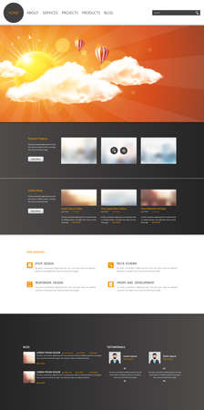 Modern One Page Website Template. Vector Web Design with flat UI elements. Ideal for Business layout.
