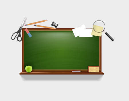 magnyfying glass: Education Background Vector Design with Space For Your Text on Green Empty Board. Collection of School Equipment.