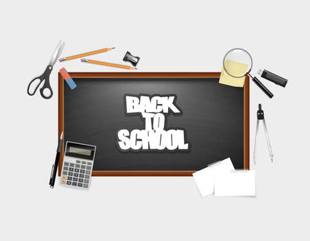 magnyfying glass: Back To School Blackboard with lettering and space for your text. Realisitc vector design elements of school. Back to school background. Detailed Design Quality
