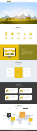 rural development: Creative One Page Website Design Template with Countryside Landscape Vector Illustration. Simple Layout Business