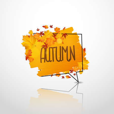 Autumn design. Artistic dry brush stroke in speech bubble. Watercolor hand painted acrylic backdrop for print, web design and banners. Vectores