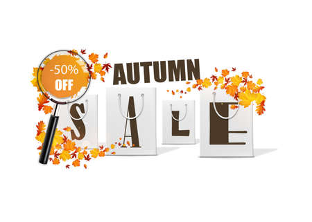 magnyfying glass: Autumn sale design template with shopping bag. Vector Illsutration, Illustration