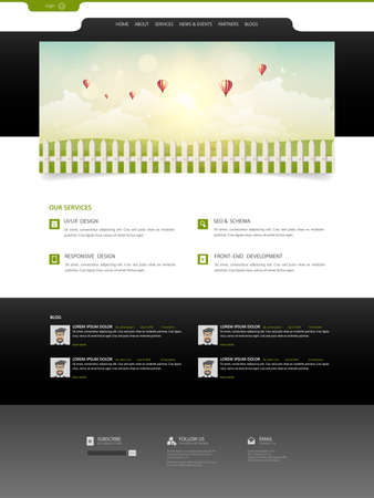 illsutration: Website Design for Your Business with summer landscape illsutration.