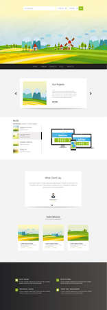 Website Template, with colorful cartoon illustration header. Vector Layout. Vektoros illusztráció