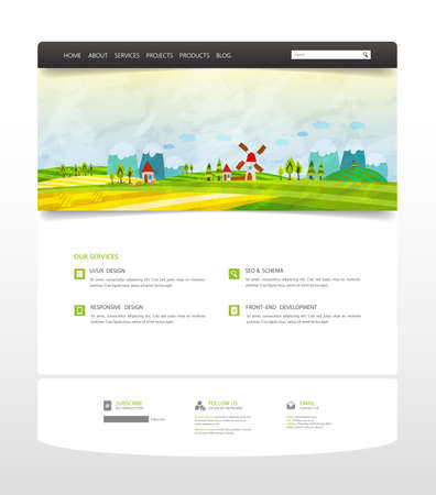 Website Template, with colorful cartoon illustration header. Vector Layout.