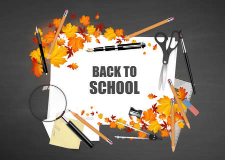 magnyfying glass: Back to school. Black desk with school supplies and autumn leaves. Vector. Illustration