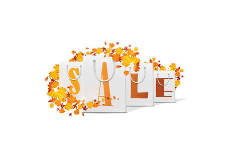 illsutration: Autumn sale design template with shopping bag. Vector Illsutration, Illustration