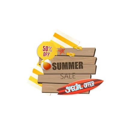 wooden plaque: Summer sale background, wooden plaque. Vector illustration. Illustration