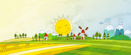 wholesome: Cartoon Countryside. Summer Landscape. Vector illustration. Illustration