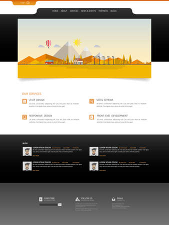 illsutration: Website Design for Your Business with autumn landscape illsutration. Illustration