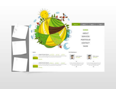 sidebar: Eco web site design layout with vector illustration of hand drawn planet.