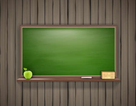granny smith apple: Vector illustration of empty green school board on wooden wall.