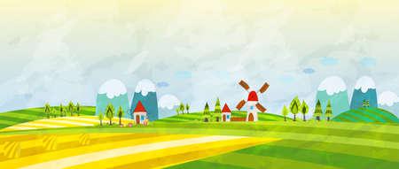 Cartoon Countryside. Summer Landscape. Vector illustration. Illustration