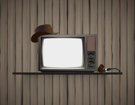 crack pipe: Old vintage TV on shelf with old wooden wall