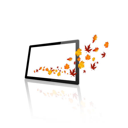 coming out: Autumn Leaves Coming out of a flat tablet, Vector Design, Illustration