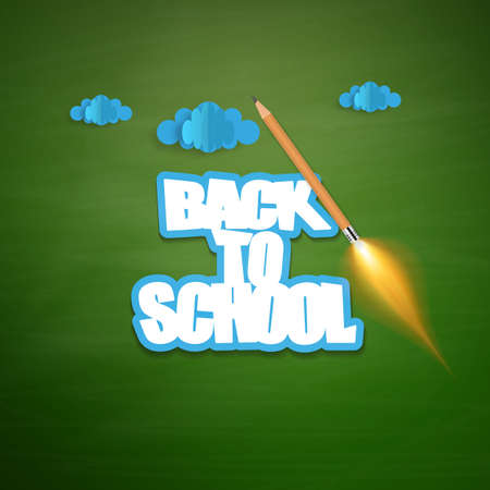 Back to school background. Origami clouds and launch rocket ship made with pencil. Illustration