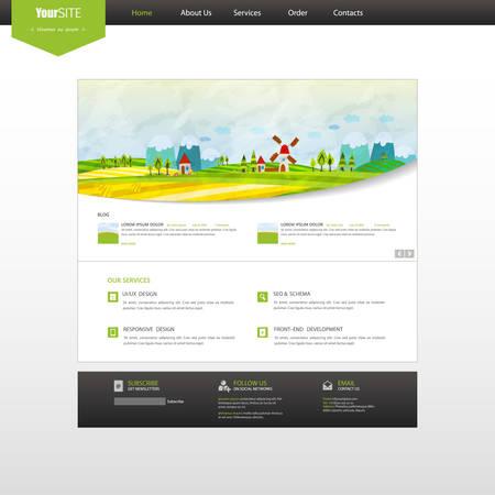 website header: Website Template, with colorful cartoon illustration header. Vector Layout.