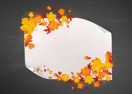 vecor: Autumn Concept Design, Illustration Vecor White Blank Paper with Autumn Leaves.