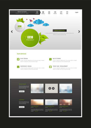submenu: One Page Website Template. Eps 10 Vector Illustration.