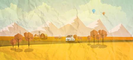 clouds scape: Vector Autumn Landscape with crumpled paper texture. Vector Design.