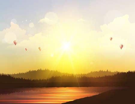 panoramic beach: Fantasy Vector High Detailed Background Landscape, Sunset and hot air ballons on cloudy sky.